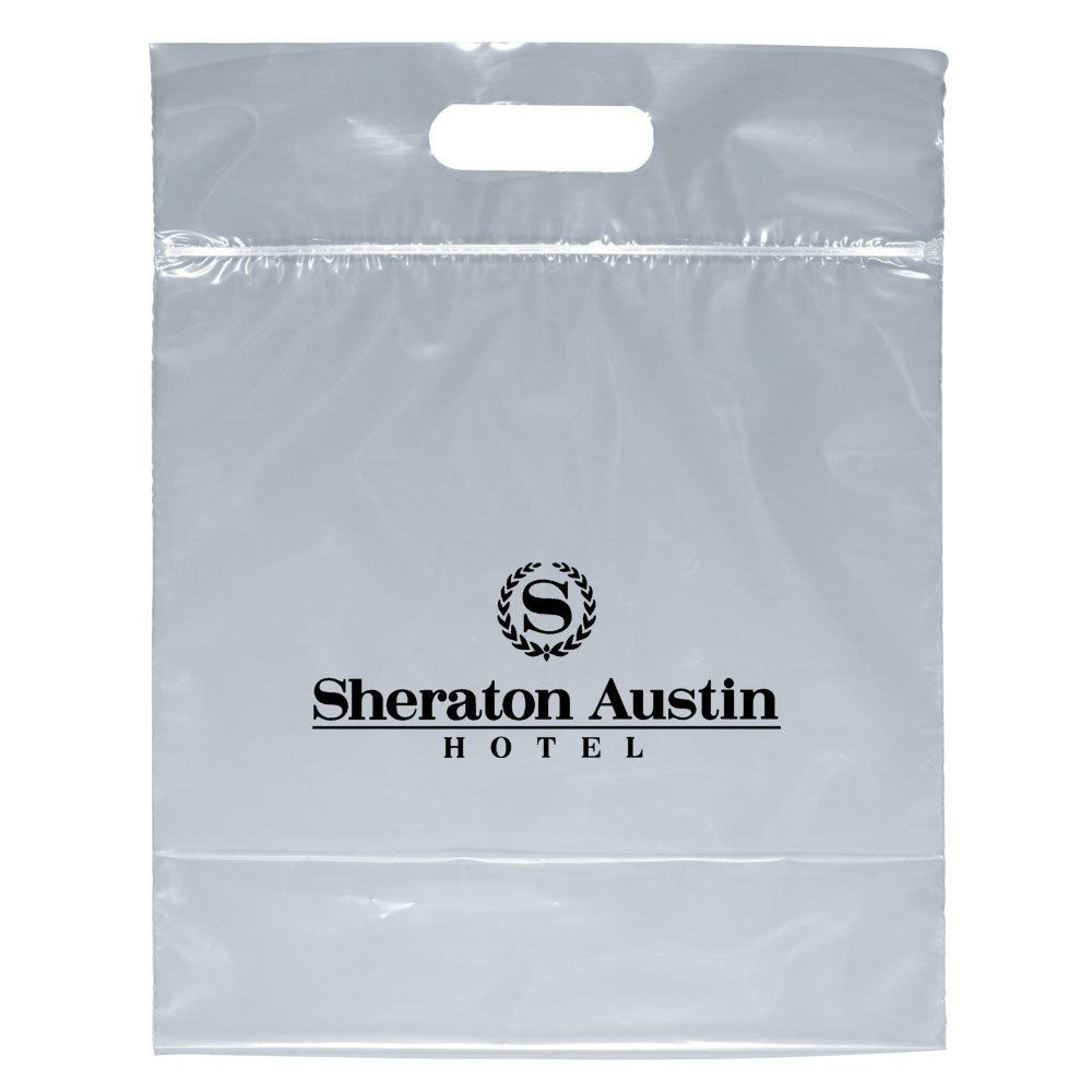 Security Approved Zip-Close Die-Cut Clear Bag - With Flexographic Personalization Available