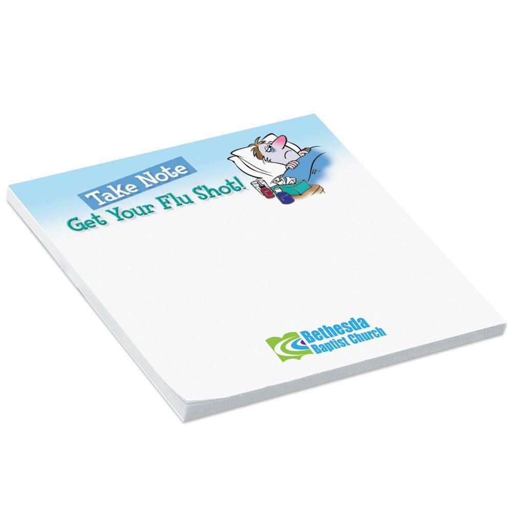 BIC® Sticky Notepad Take Note: Get Your Flu Shot - Personalization Available