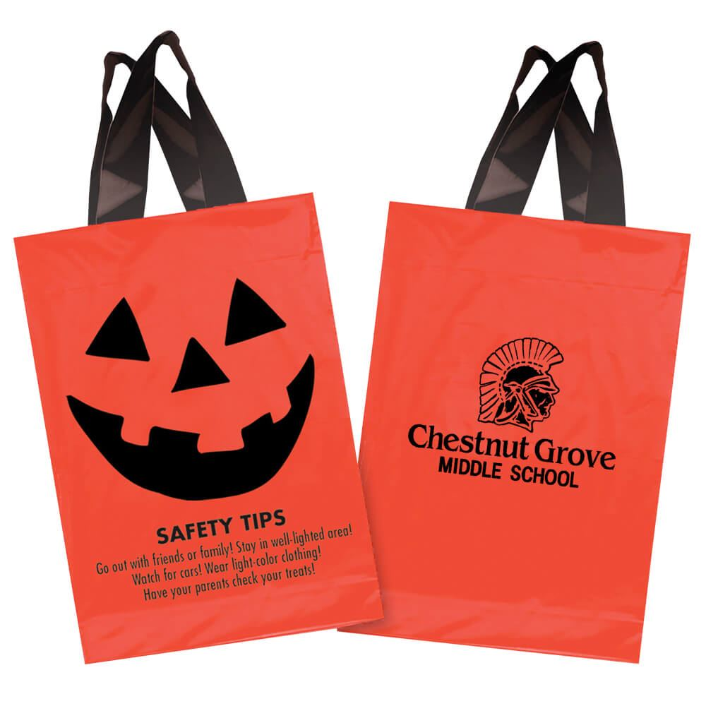 Safety Tips Orange Plastic Trick-Or-Treat Bag - Personalization Available