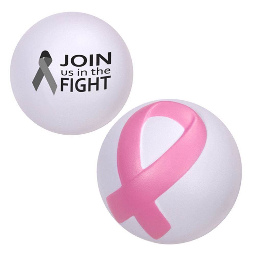 Breast Cancer Awareness Ribbon Ball Stress Reliever - Personalization Available