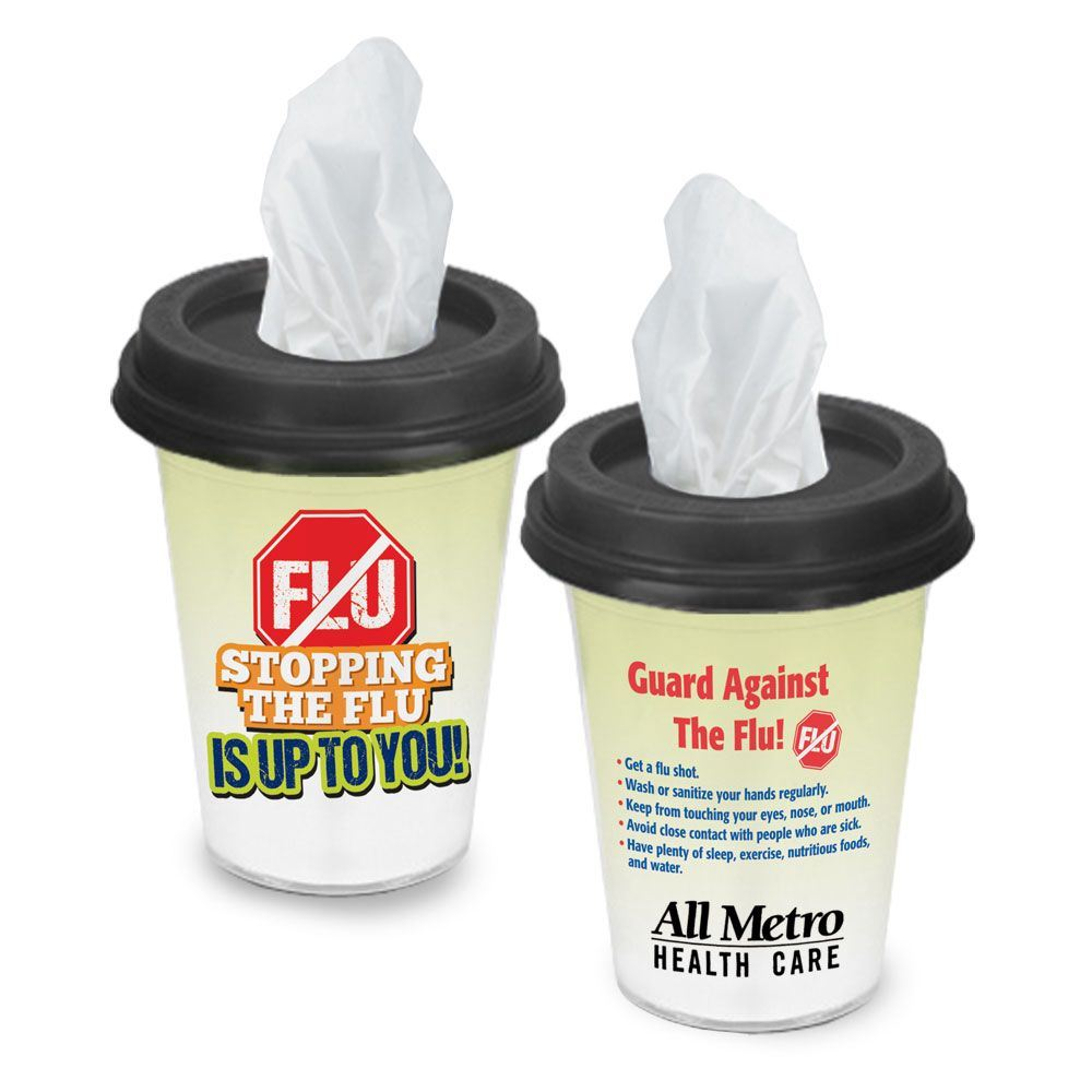 Stopping The Flu Is Up To You! Tissues & Tips To-Go Cup - Personalization Available