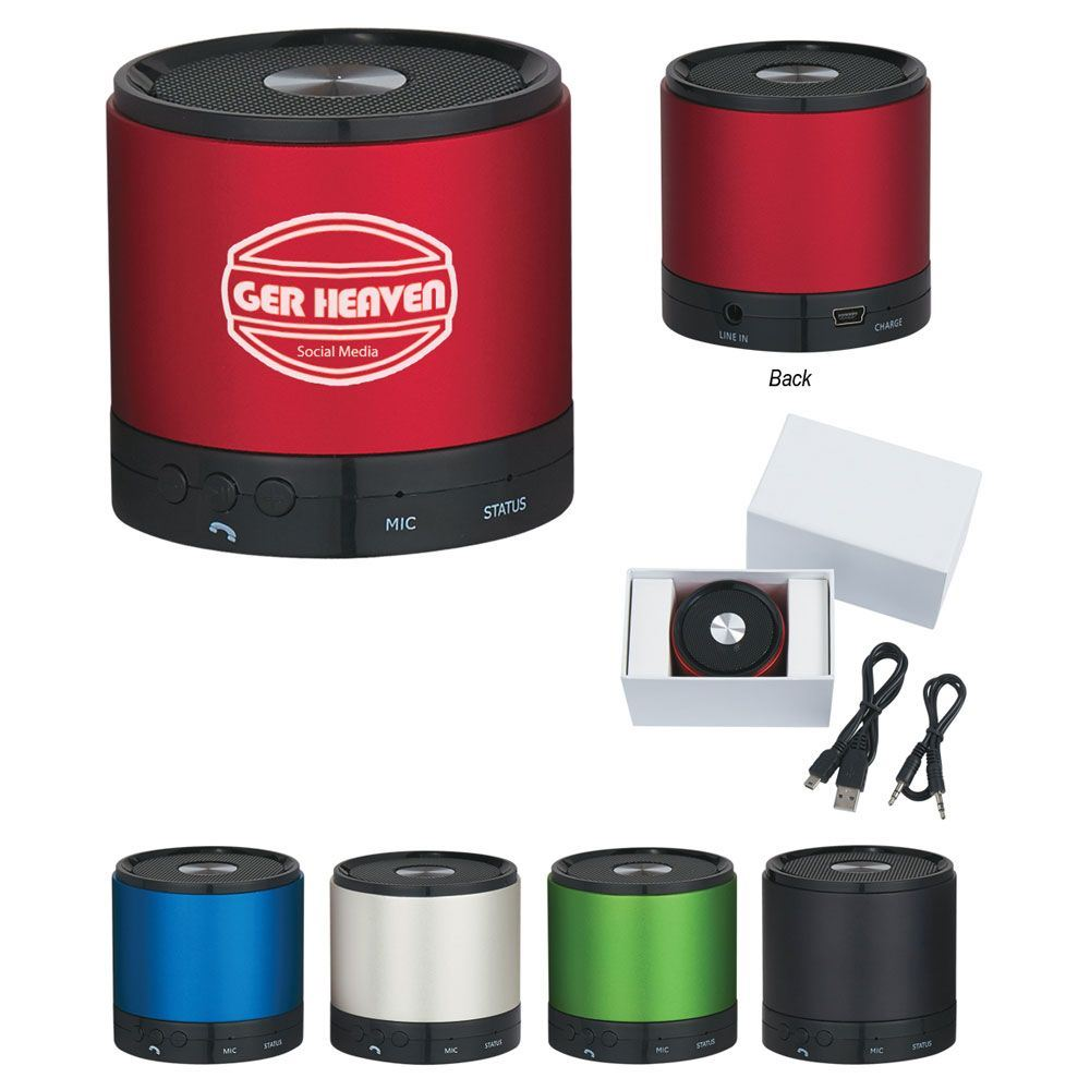 Round Bluetooth® 3.0 Speaker & Built-In Mic - Personalization Available
