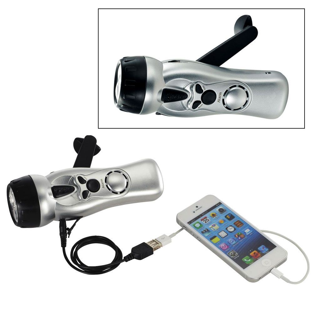 Emergency Dynamo Multi-Function Flashlight With USB - Personalization Available