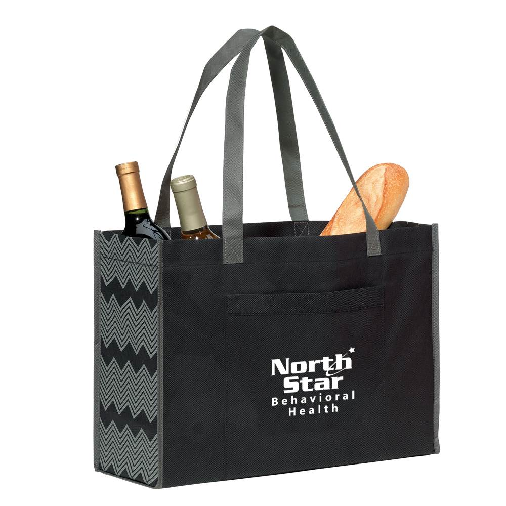 Chevron Non-Woven Shopper - Personalization Available
