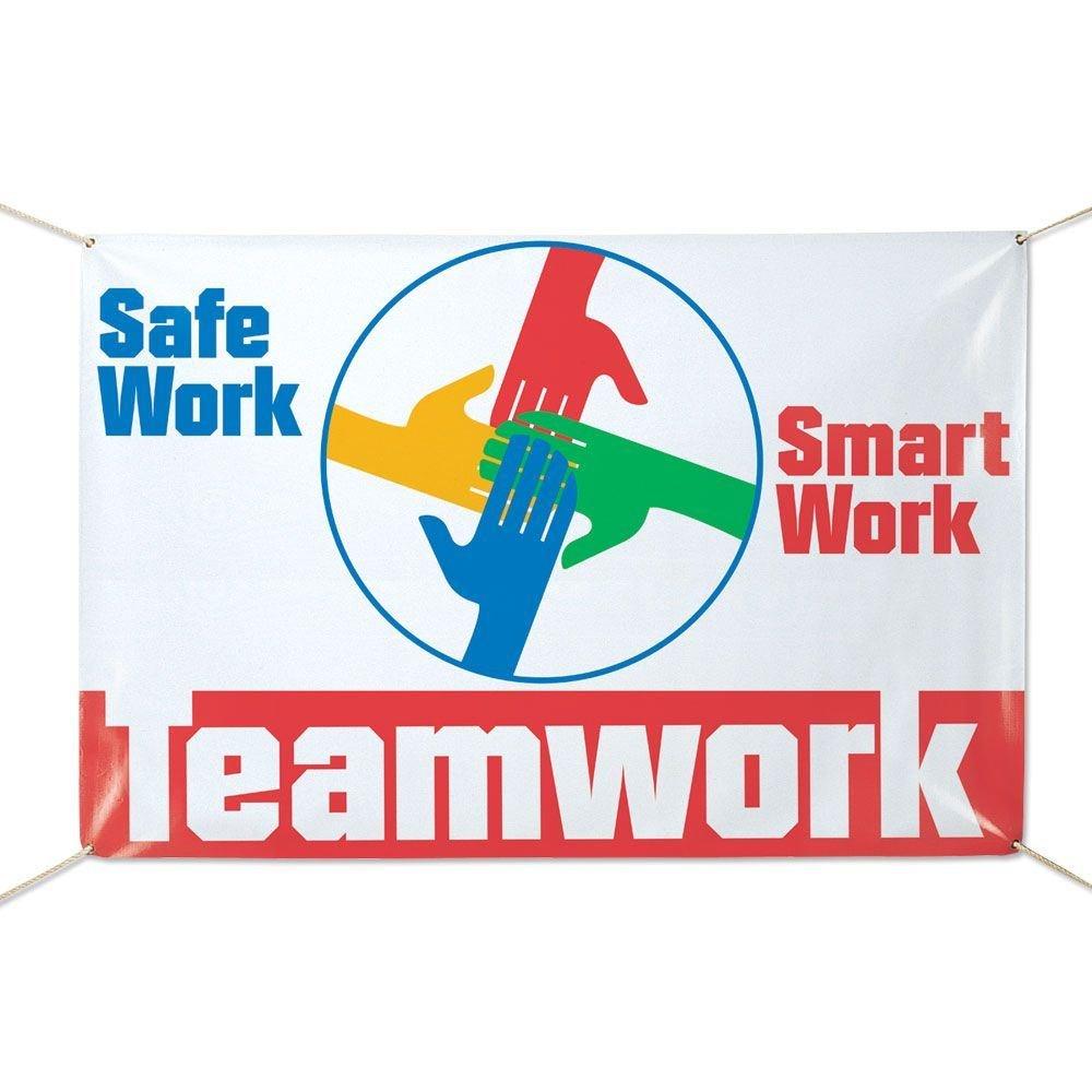 Safe Work, Smart Work, Teamwork 6' x 4' Vinyl Banner