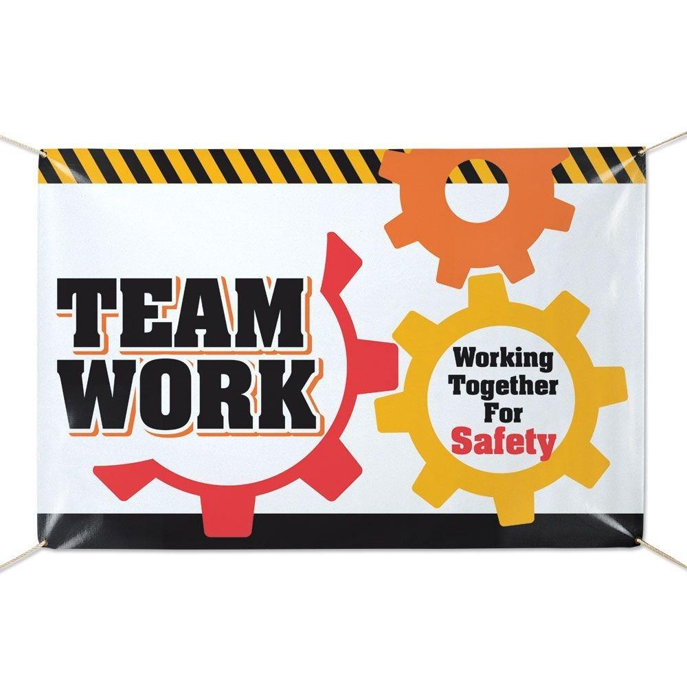 Teamwork Working Together For Safety 6' x 4' Vinyl Banner