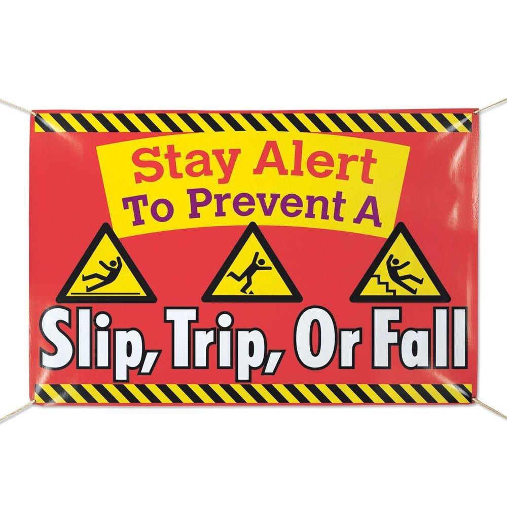 Stay Alert To Prevent Slip, Trip Or Fall! 6' x 4' Vinyl Banner
