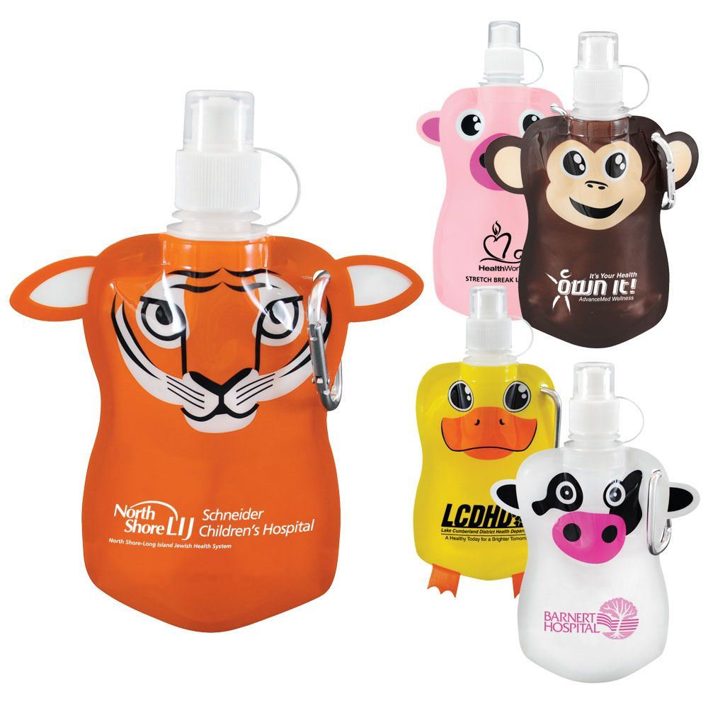 """""""PAWS""""itive Pals Flat Water Bottle 12-oz. - Personalization Available"""