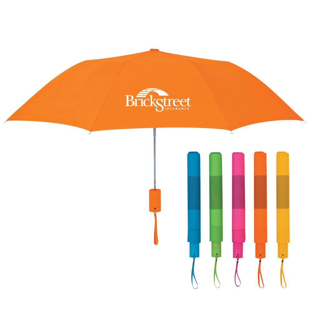 "42"" Arc Neon Telescopic Folding Umbrella - Personalization Available"