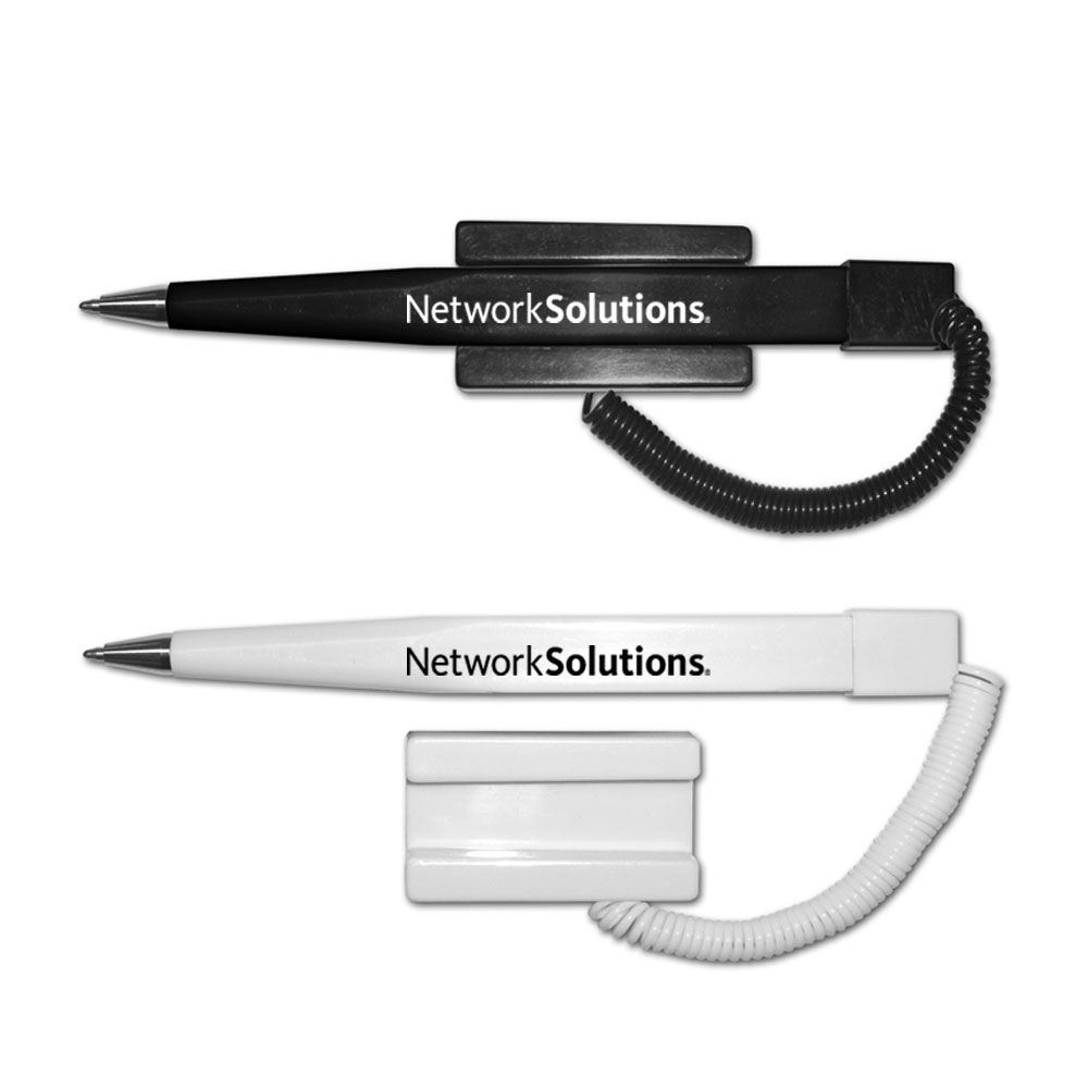 Financier Ball Point Pen with Coil Cord & Stick-On Base - Personalization Available