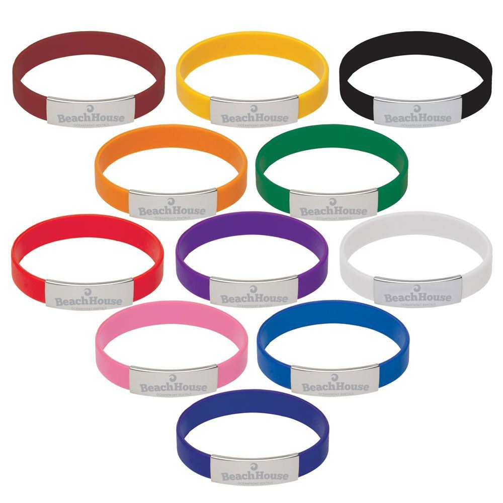 Silicone Bracelet With Metal Accent - Personalization Available
