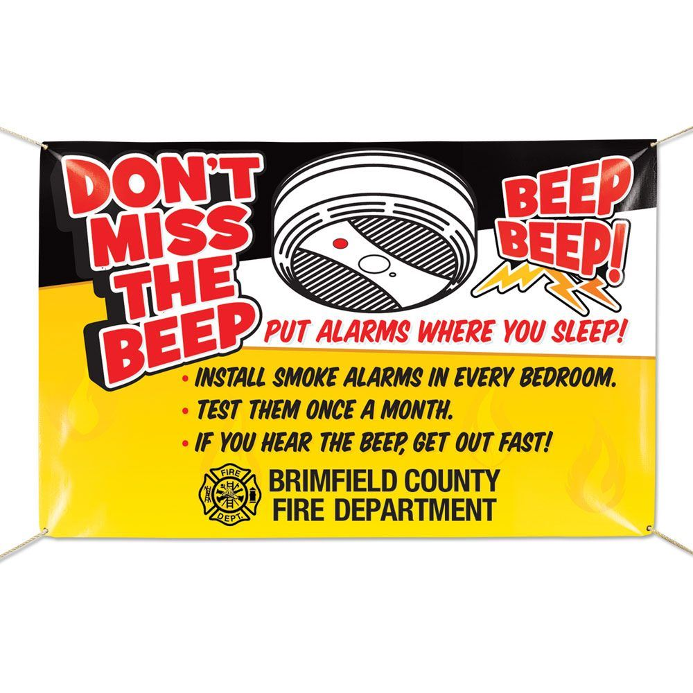 Don't Miss The Beep - Put Alarms Where You Sleep Full-Color Vinyl Banner