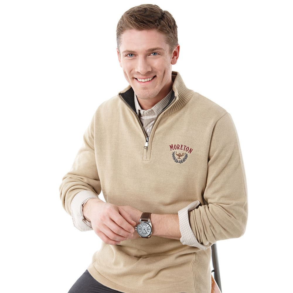 Men's Moreton Quarter Zip Sweater - Embroidery Personalization Available