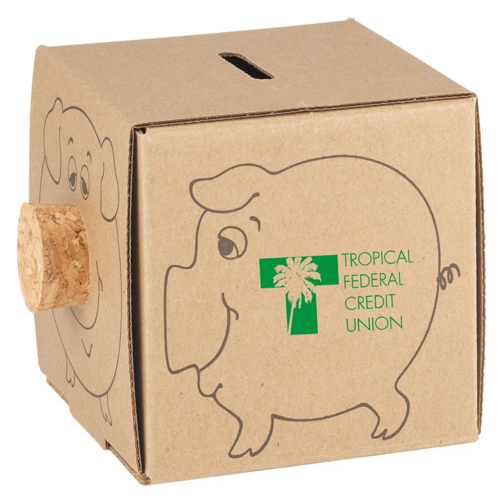 Recycled Cardboard Piggy Bank - Personalization Available