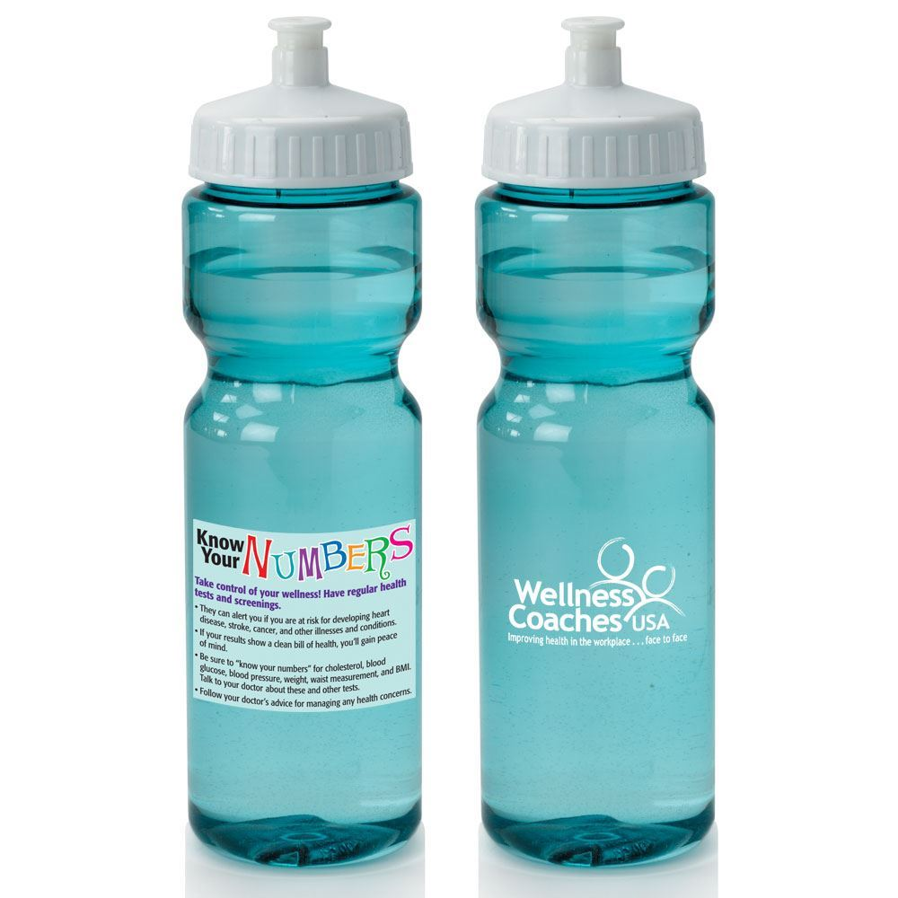 Know Your Numbers Full-Color Translucent Water Bottle 28-oz. - Personalization Available