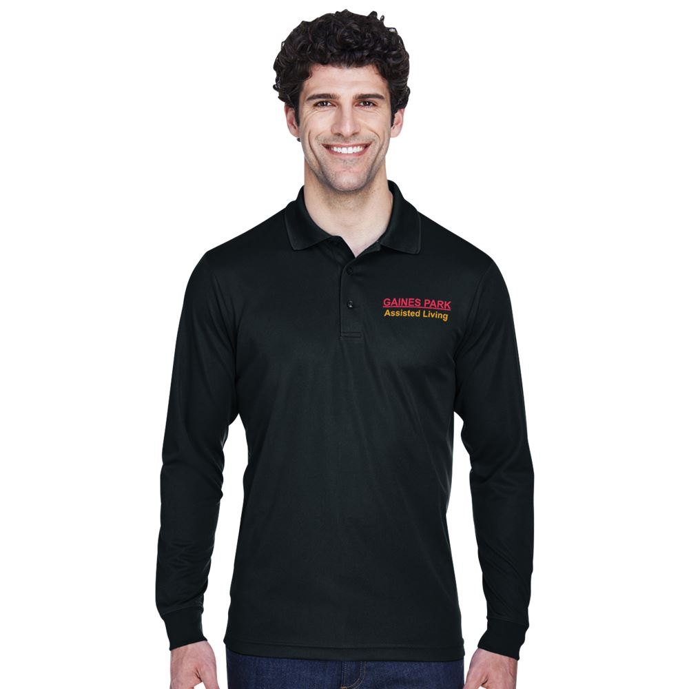 Core 365™ Men's Pinnacle Performance Long-Sleeve Pique Polo - Embroidery Personalization Available