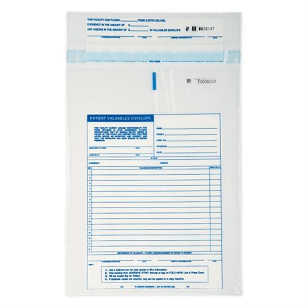 Stock Patient Valuables Envelope