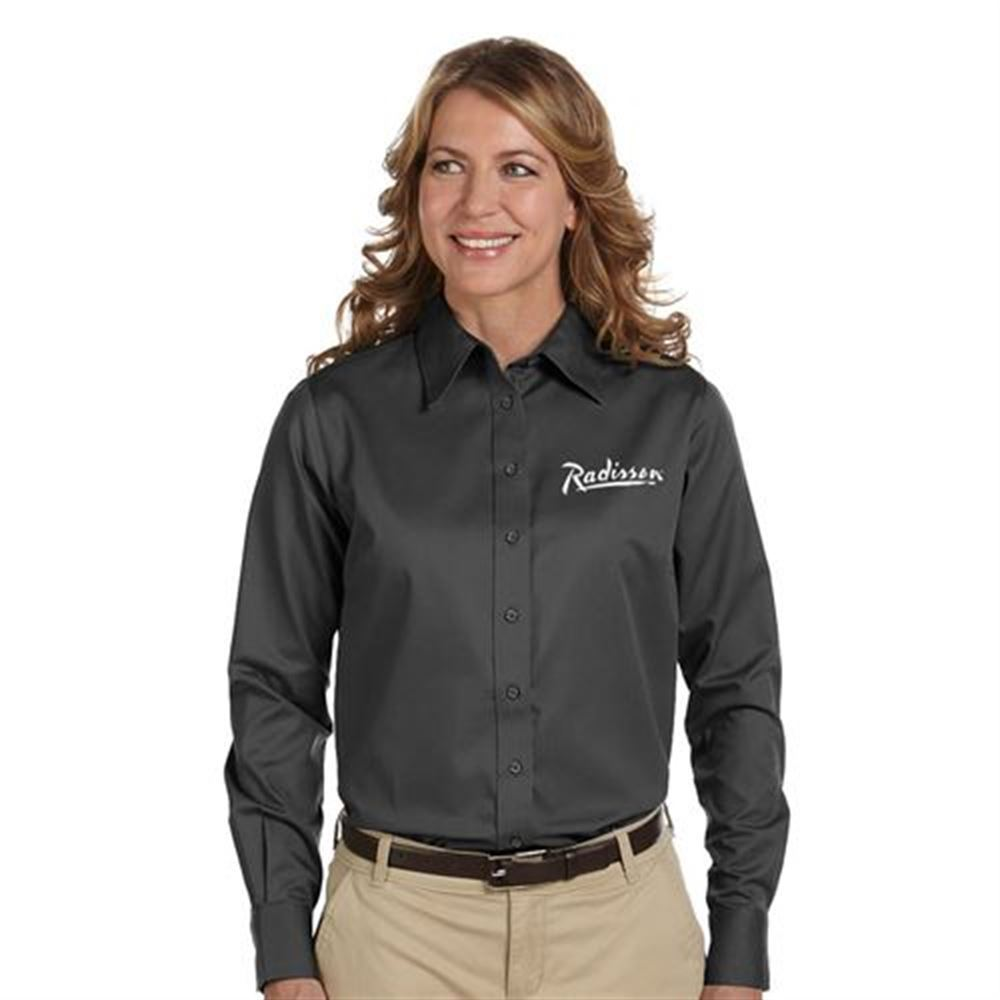 Harriton® Easy Blend™ Women's Long-Sleeve Twill Shirt with Stain Release - Personalization Available