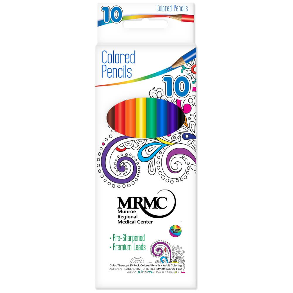 Color Therapy 10 Pack Colored Pencils - Adult Coloring - Personalization Available