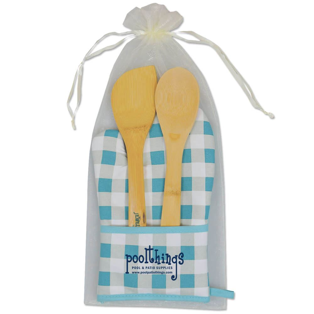 Chef's Pocket Oven Mitt And Bamboo Utensils Combo - Personalization Available