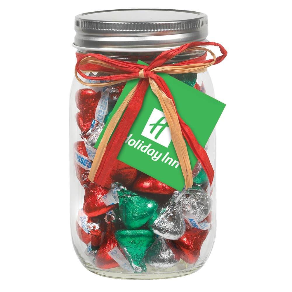 Holiday Hershey S 174 Kisses In 16 Oz Mason Jar With Raffia
