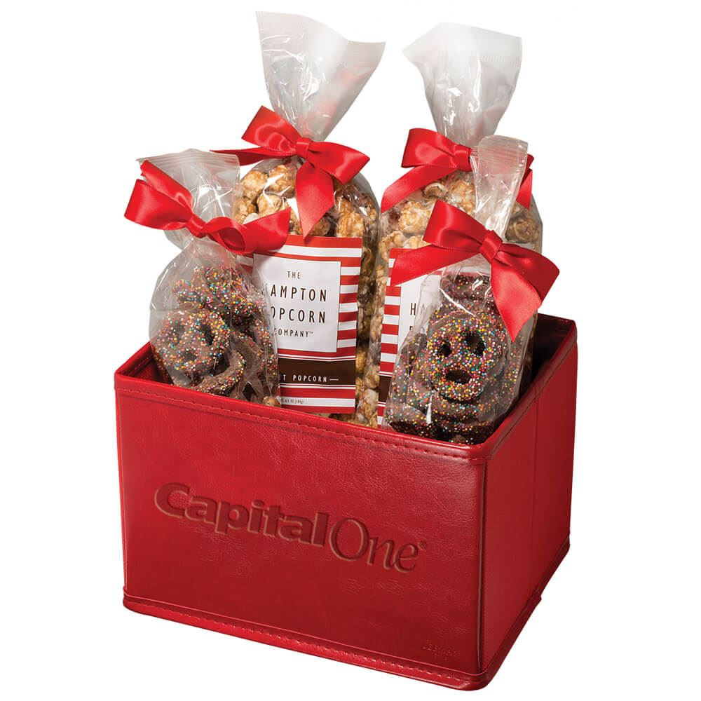 Popcorn pretzel gift set personalization available