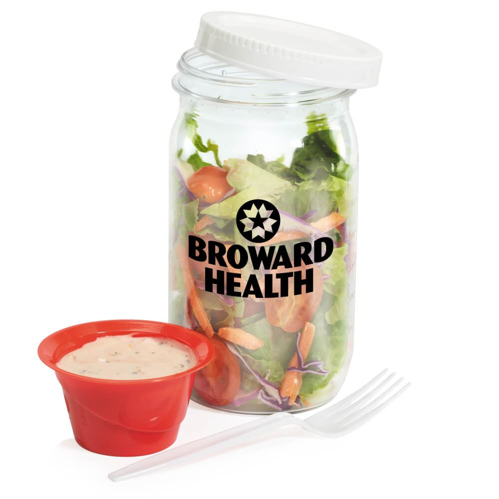 Salad Jar With Dressing Container - Personalization Available