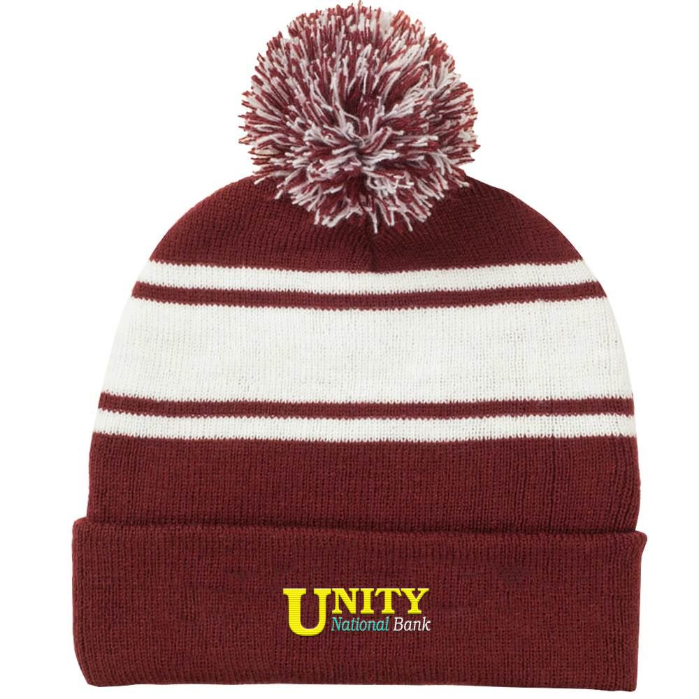 Two-Tone Knit Pom Pom Beanie with Cuff - Personalization Available