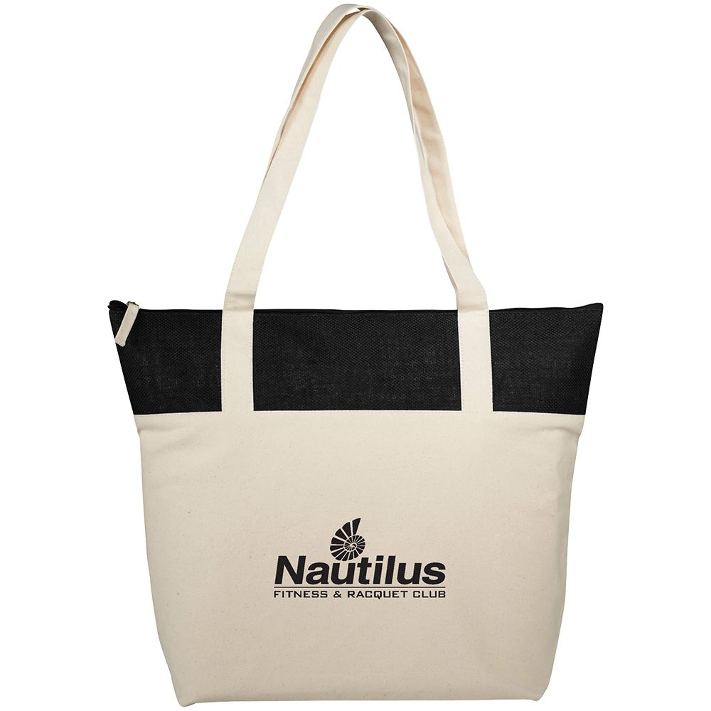 Cotton and Jute Accent Zippered Tote - Personalization Available