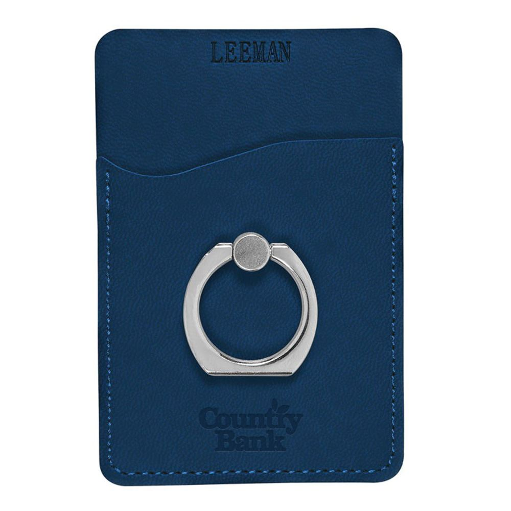 Tuscany® Card Holder With Metal Ring Phone Stand - Personalization Available