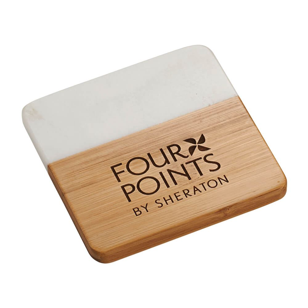 Marble And Bamboo Coaster Set - Personalization Available
