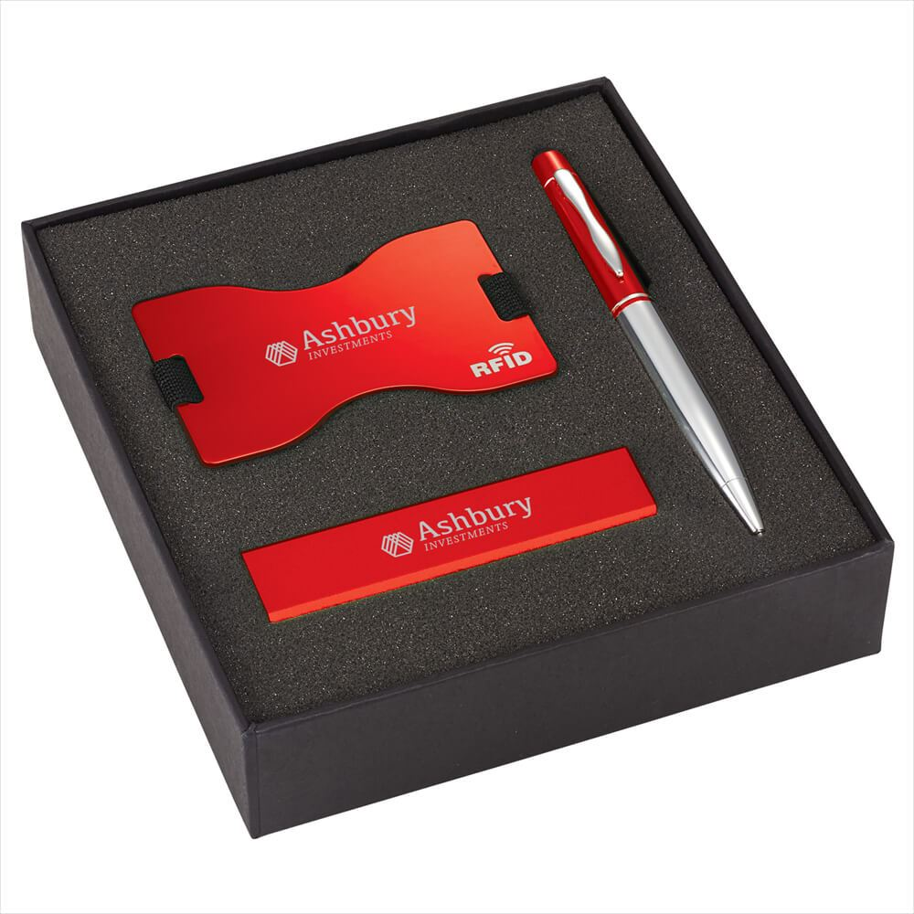 RFID Card Wallet, Power Bank, & Stylus Pen 3-in-1 Travel Gift Set - Personalization Available