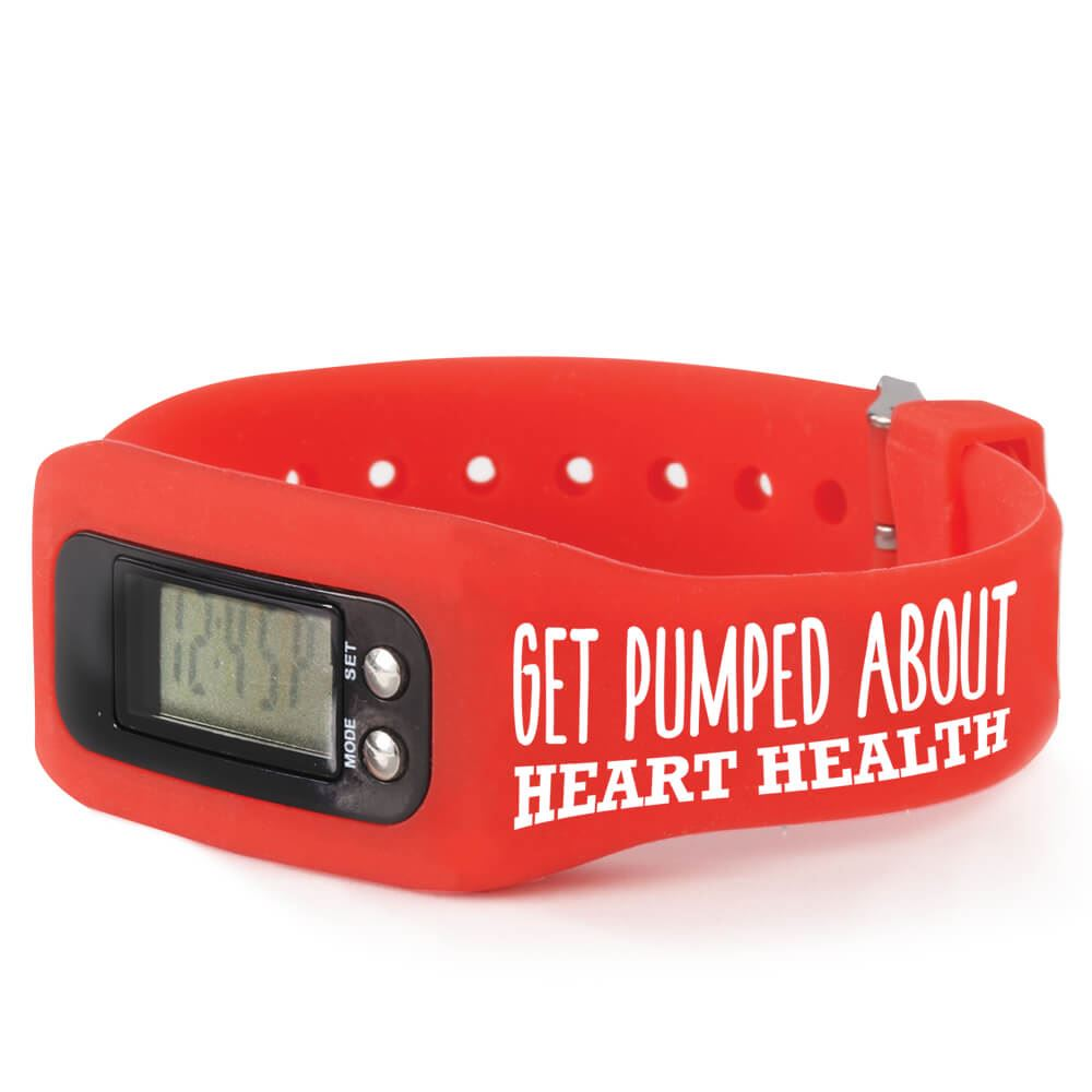 15 Get Pumped About Heart Health Fitness Watch Pedometers Encourage healthy, active living!  Red multi-function fitness watch counts steps, records calories-burned, measures distance traveled, displays time, and records body weight  US and metric measurement setting options available  Adjustable silicone strap fits most wrists; large digital display  Features our heart-health awareness design on band  Detailed operating instructions included