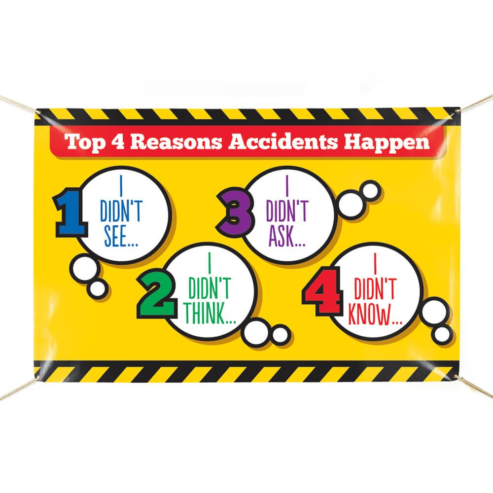 4 Causes Of Accidents 6' x 4' Indoor/Outdoor Vinyl Safety Banner