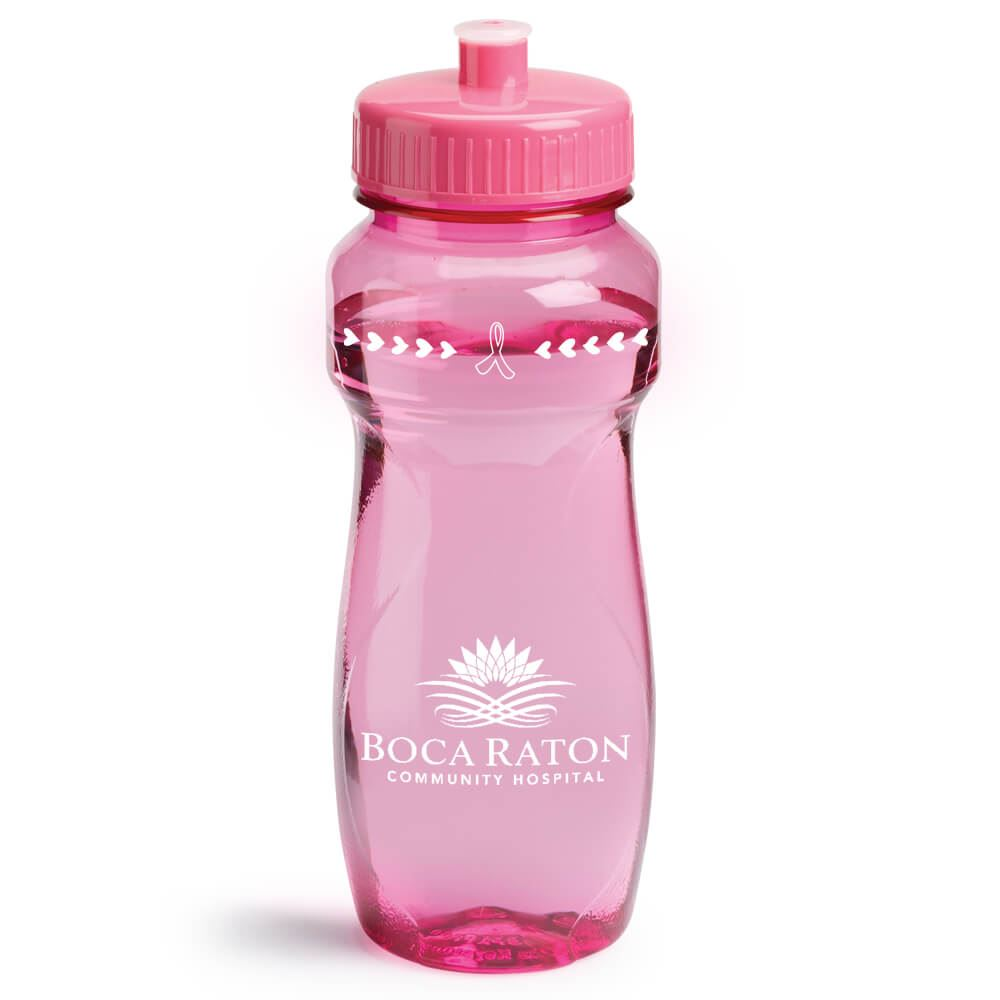 Translucent Pink Vista Water Bottle With Pink Lid 24-oz. - Personalization Available