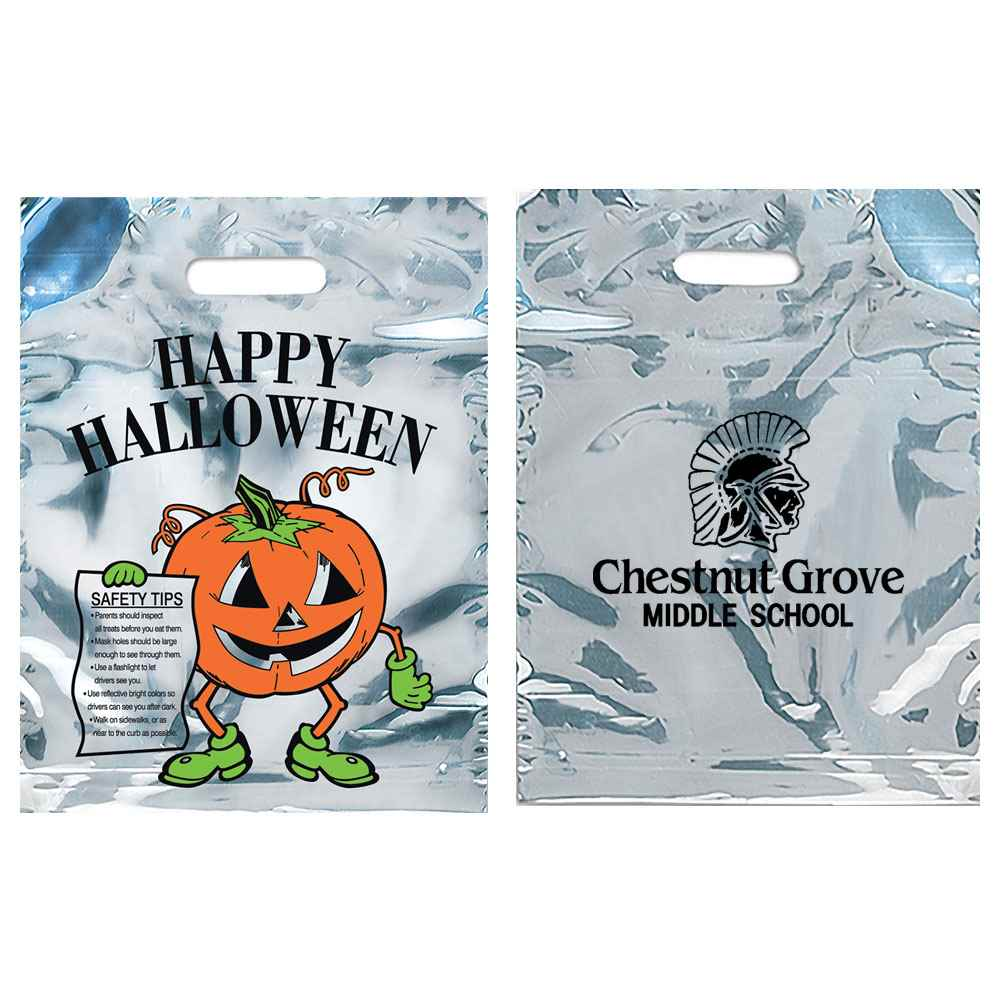 Happy Halloween Reflective Plastic Trick-Or-Treat Bags - Personalization Available