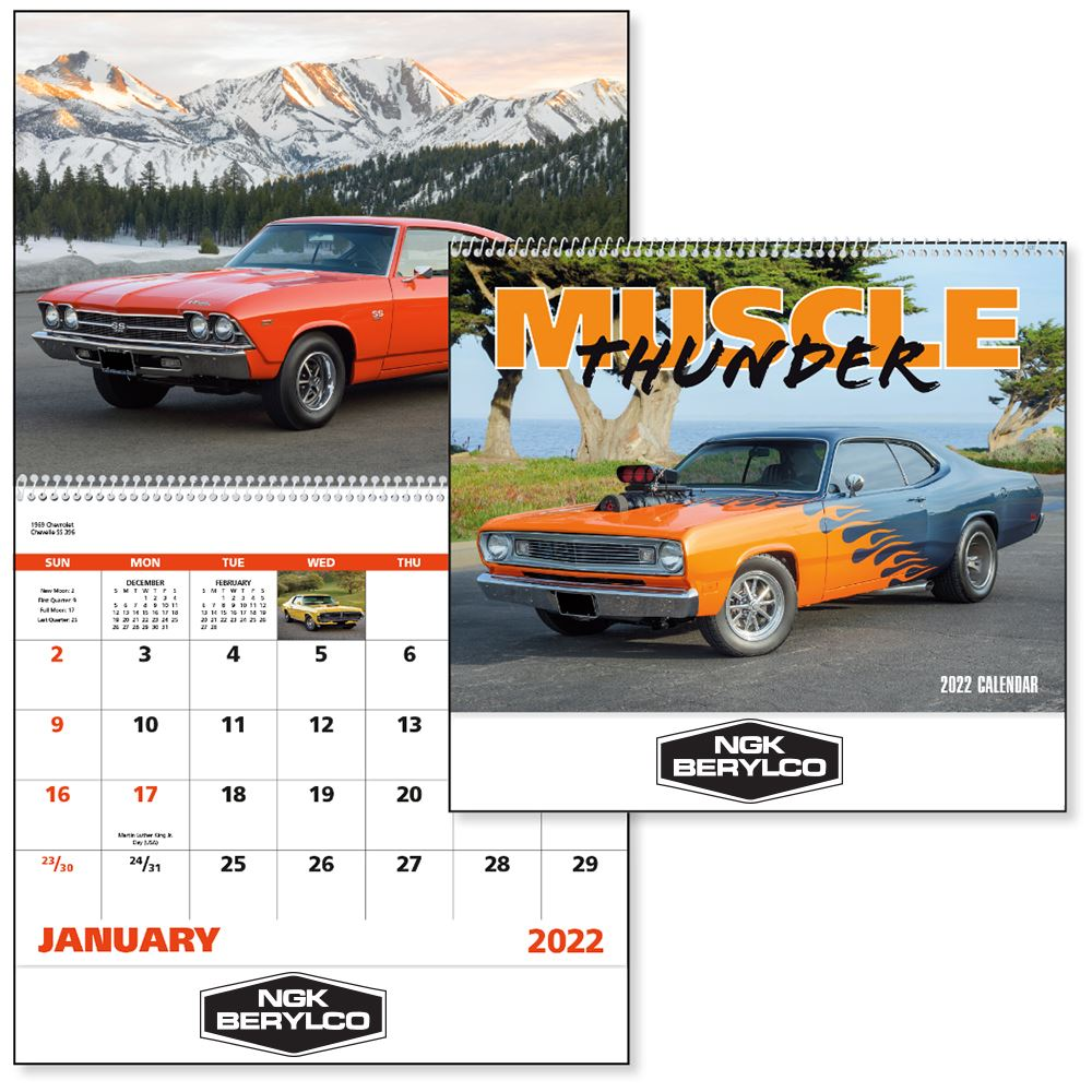 2022 Muscle Thunder Wall Calendar - Spiral -��Add Your Personalization