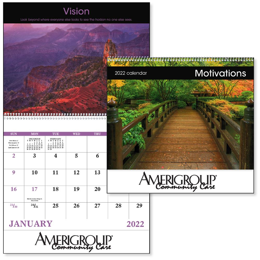Motivations 2021 Wall Calendar - Spiral - Personalization Available