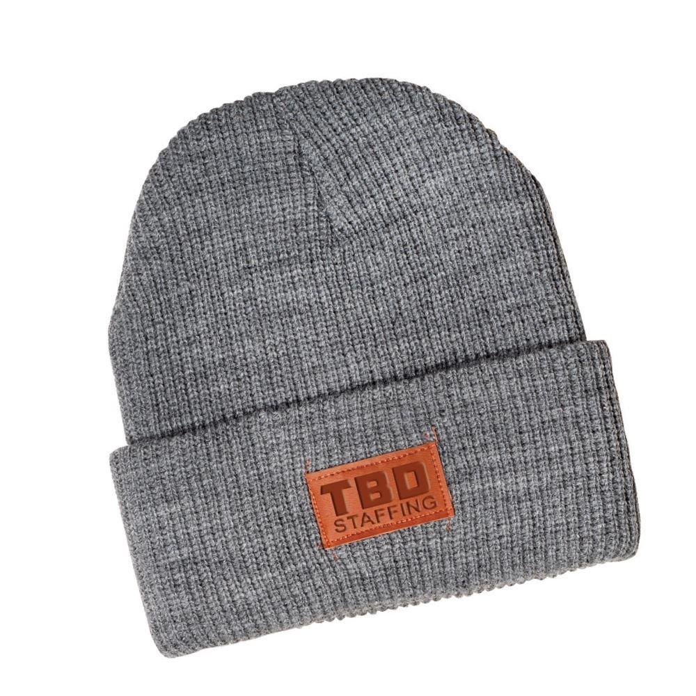 Leeman® Rib Knit Beanie - Debossed Personalization Available