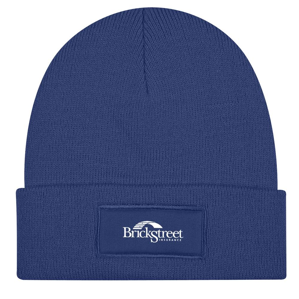 Patch Knit Beanie Cap With Cuff - Personalization Available