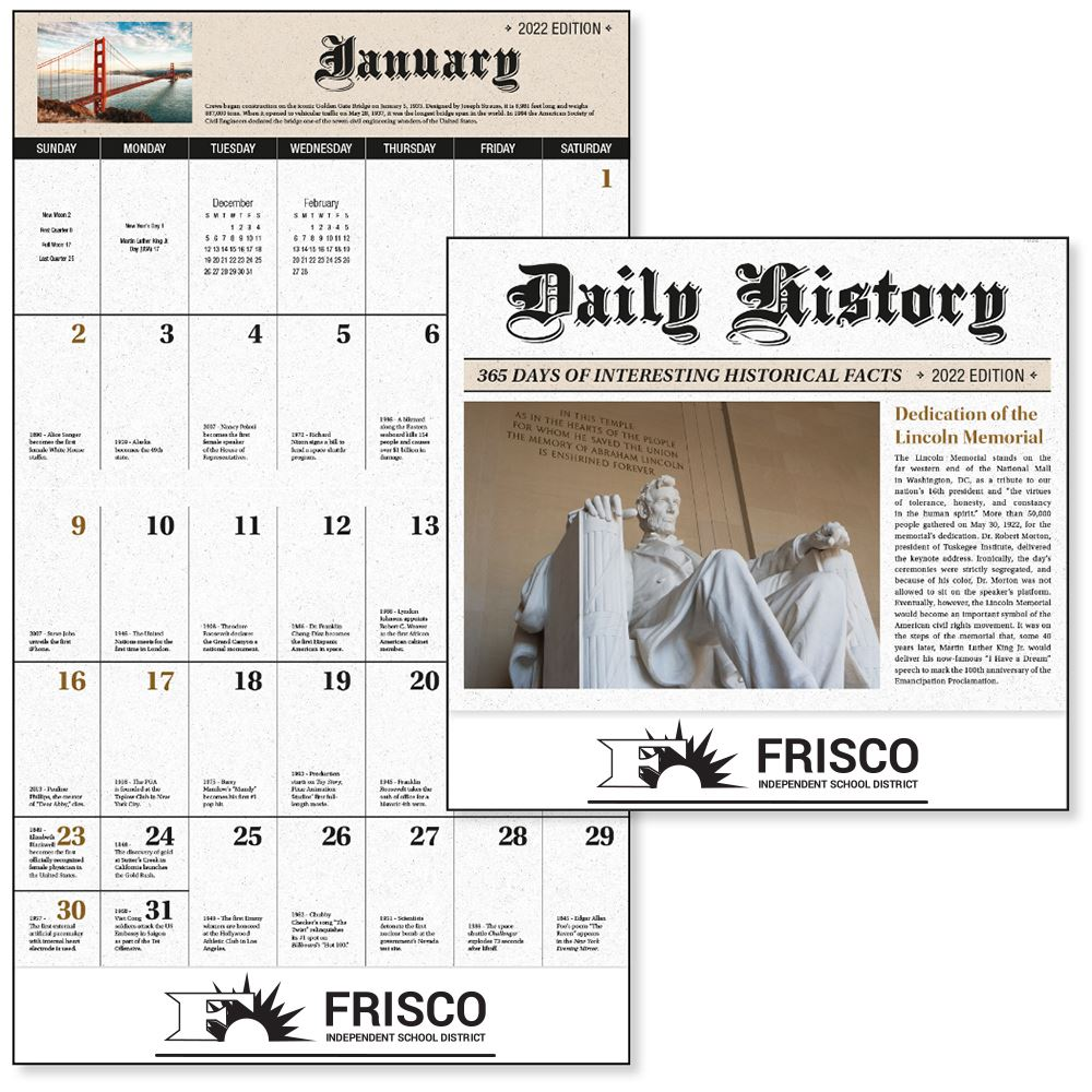 2022 Daily History Wall Calendar - Stapled - Personalization Available