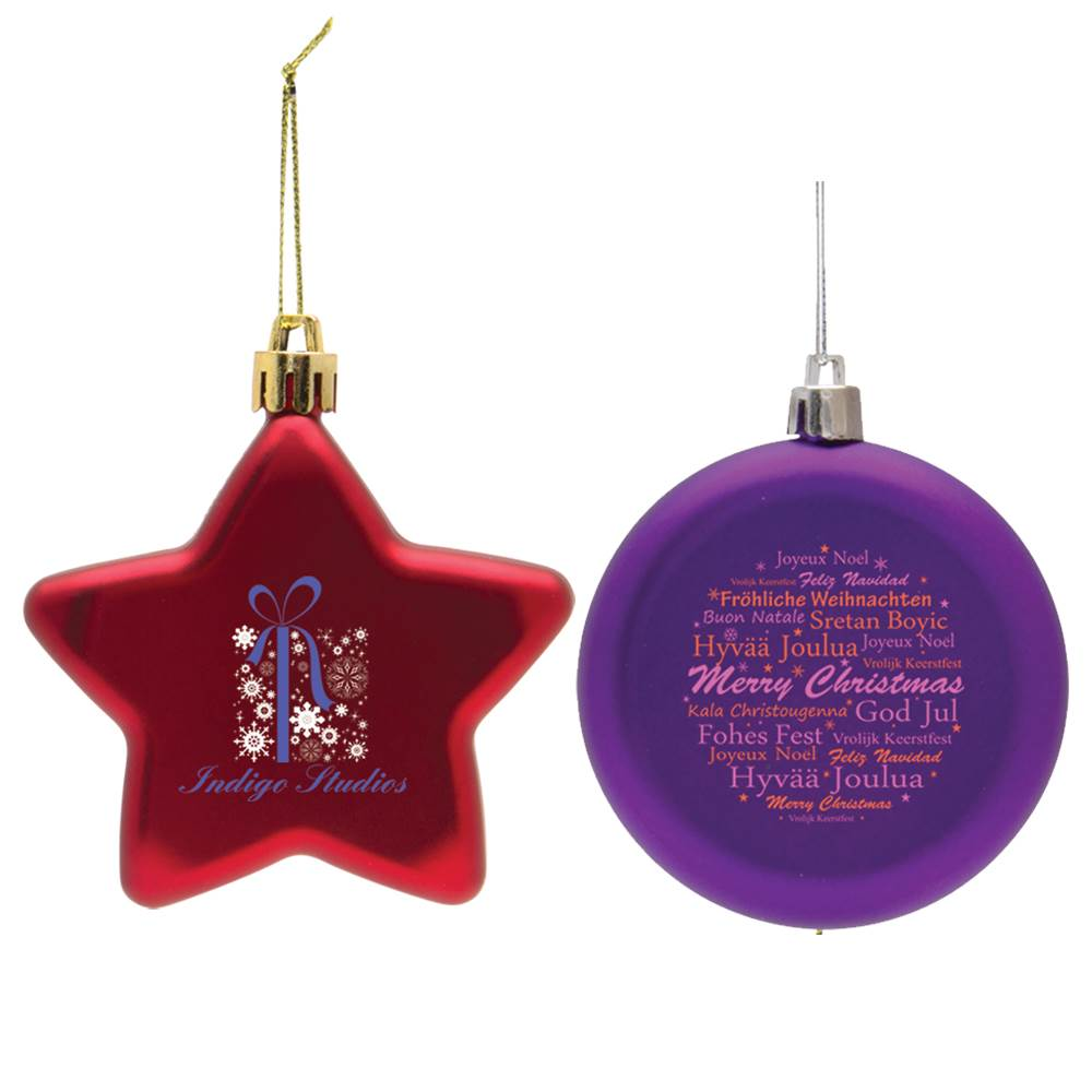 Shatter-Resistant Flat Star Ornament - Full-Color Personalization Available