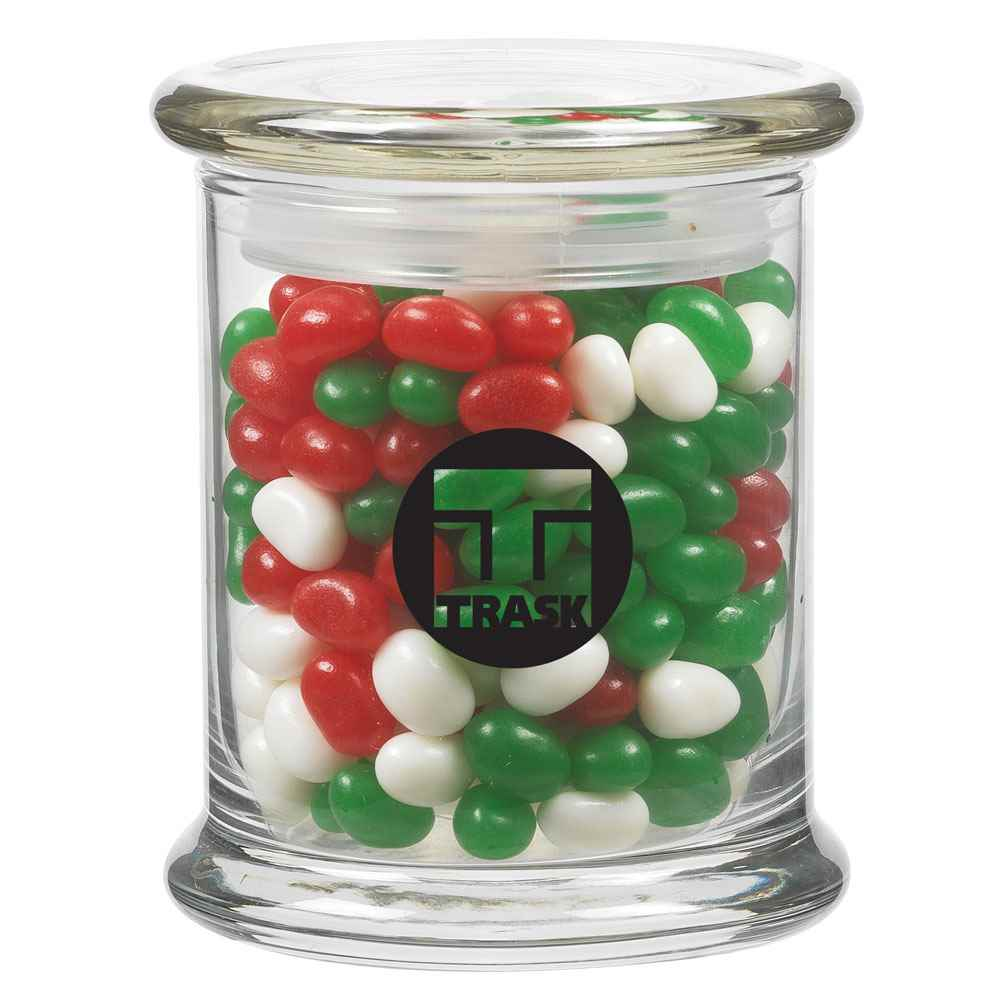 Glass Jar 12.5-oz. With Holiday Gourmet Jelly Beans - Personalization Available