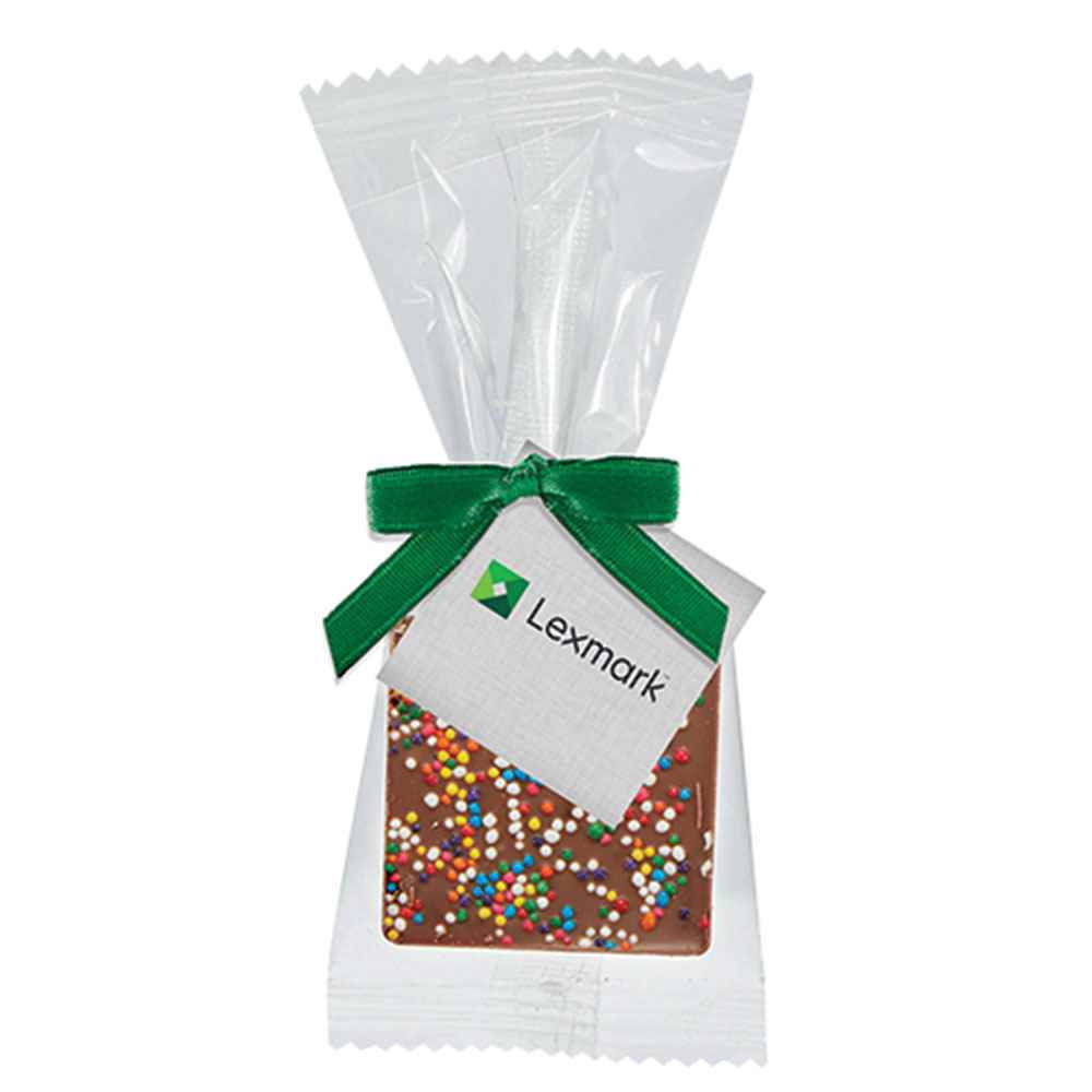 Bite-Size Belgian Chocolate Square in Favor Bag - Rainbow Nonpareil Sprinkles - Personalization Available