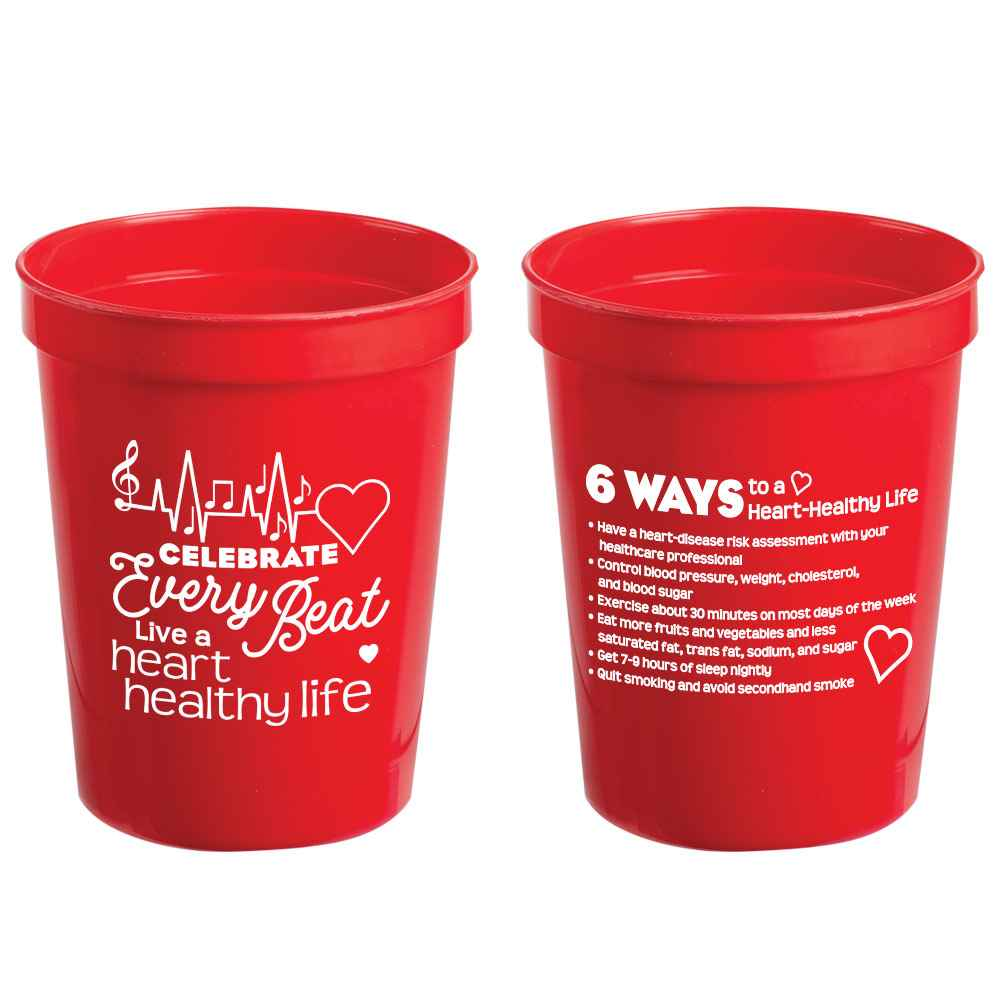 Celebrate Every Beat, Live A Heart-Healthy Life Stadium Cup 16-Oz.