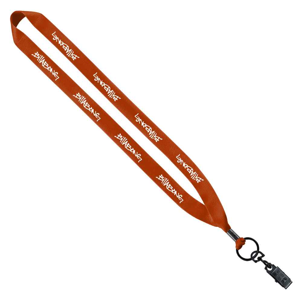Polyester Lanyard with Metal Bulldog Clip - Personalization Available