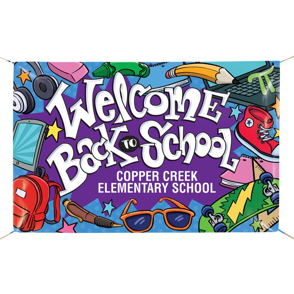 Welcome Back To School Full-Color Vinyl School Banner - Personalization Available