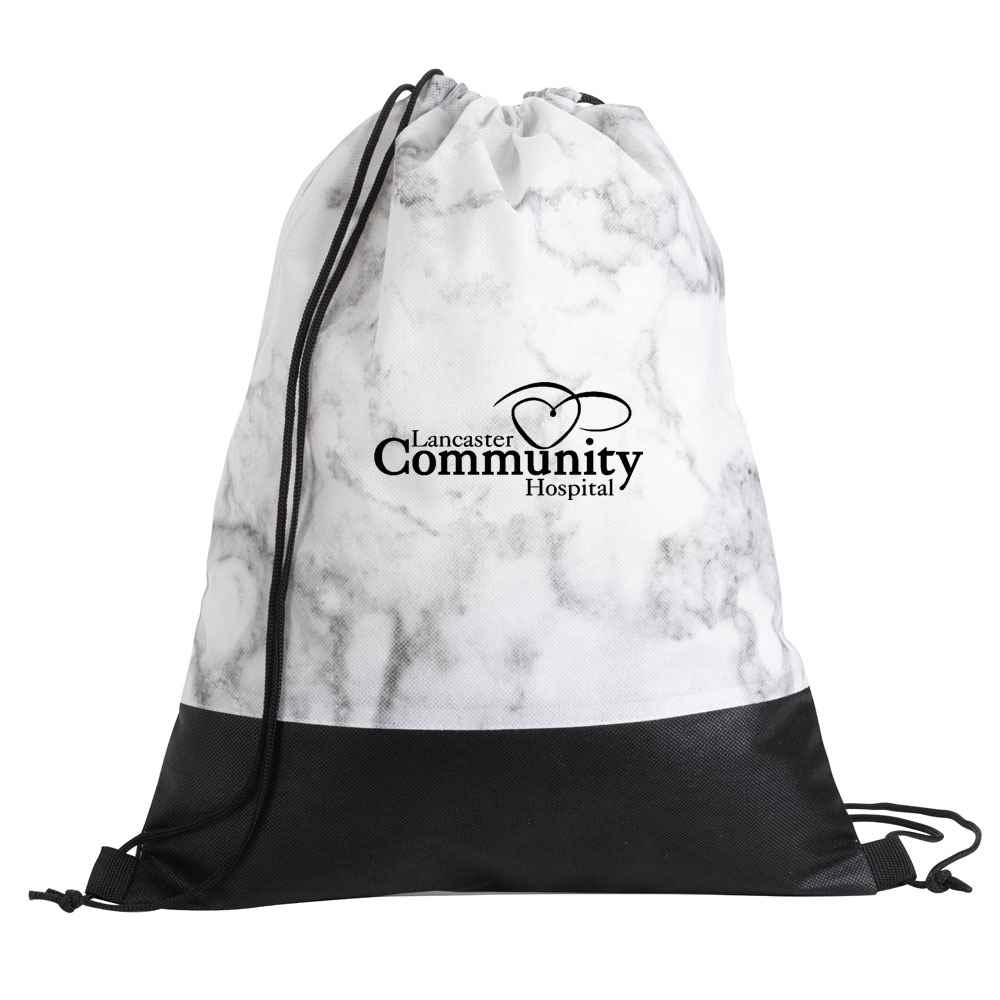 Marble Drawstring Backpack - Personalization Available