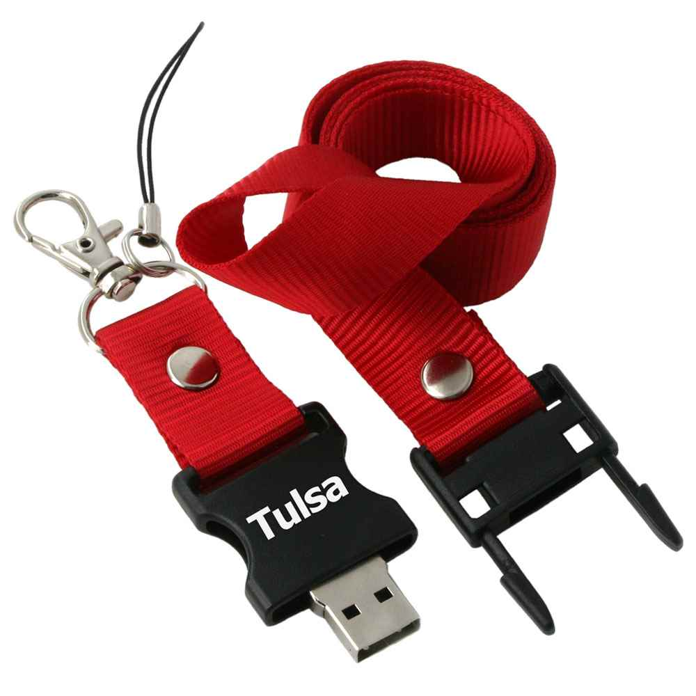 Detachable 2GB USB Flash Drive Lanyard - Personalization Available