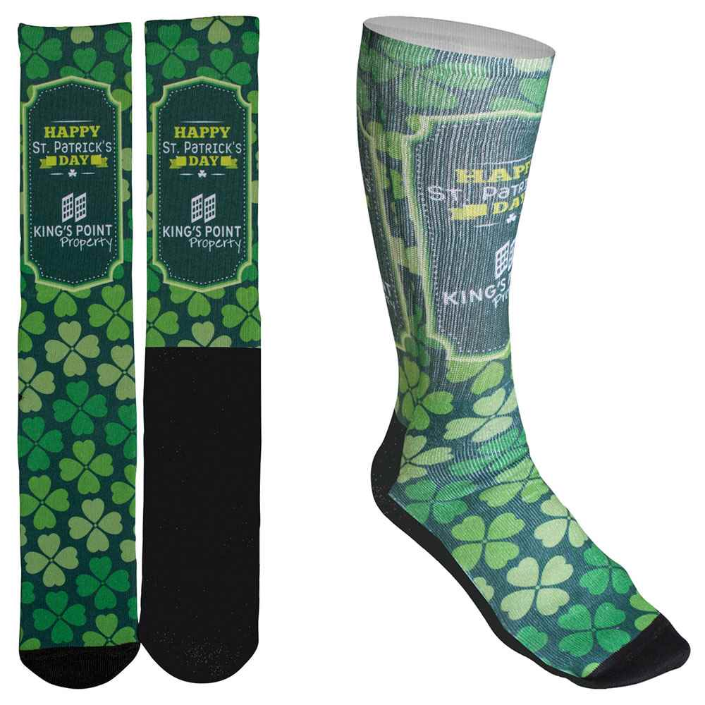 Men's Full-Color Crew Promo Socks with Black Bottom - Personalization Available